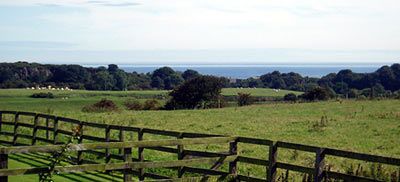 View of the Northumberland coast from the dining room at Stonecroft